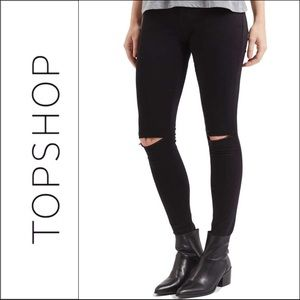 Topshop Black Ripped Knee High Rise Leigh Jeans